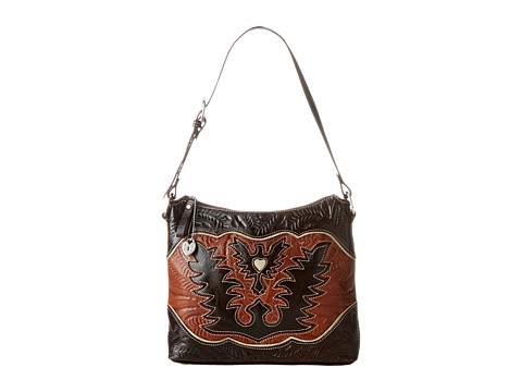 American West - Eagle Heart Shoulder Bag (Chocolate/Tan/Cream) Shoulder Handbags
