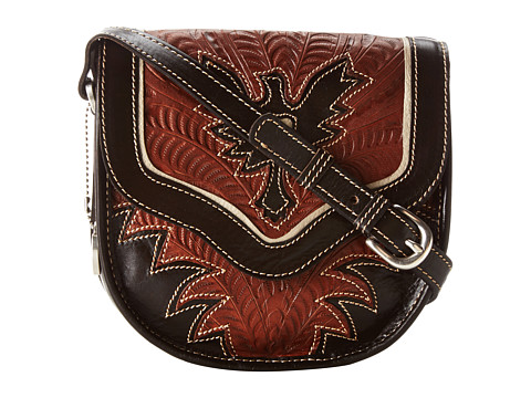 American West - Eagle Heart Crossbody Flap Bag (Chocolate/Tan/Cream) Cross Body Handbags