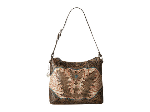 American West - Eagle Heart Shoulder Bag (Distressed Charcoal Brown/Cream/Sky Blue) Shoulder Handbags