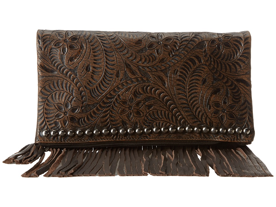 American West - Rockabilly Folded Clutch (Distressed Charcoal Brown) Clutch Handbags