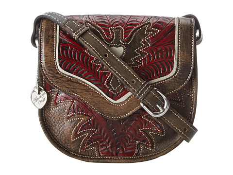 American West - Eagle Heart Crossbody Flap Bag (Distressed Charcoal Brown/Distressed Crimson/Cream) Cross Body Handbags
