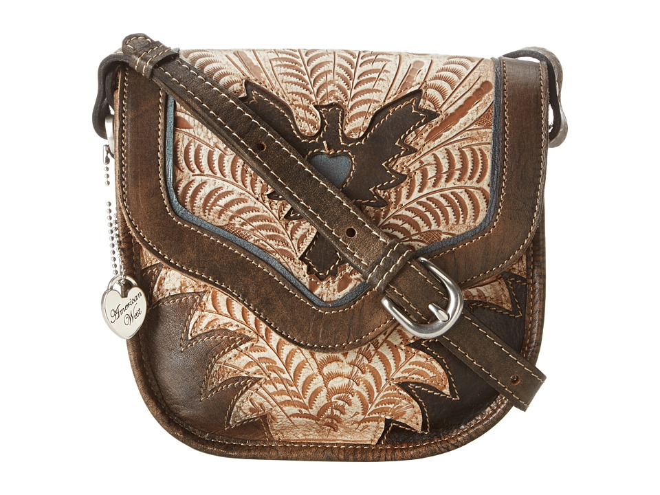 American West - Eagle Heart Crossbody Flap Bag (Distressed Charcoal Brown/Cream/Sky Blue) Cross Body Handbags