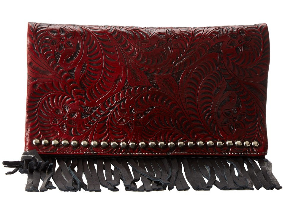 American West Rockabilly Folded Clutch (Distressed Crimson) Clutch Handbags