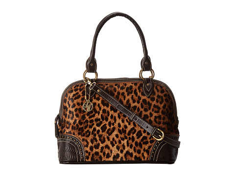 American West - Tulsa Twilight Zip-Around Satchel (Chocolate/Leopard Hair) Satchel Handbags