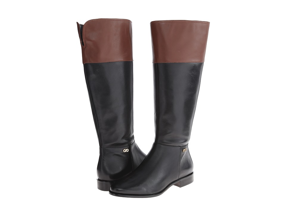 Cole Haan Primrose Riding Boot Extended Calf (Black/Harvest Brown) Women