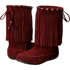 Minnetonka Studded Collar Calf High Boot (Wine) Footwear