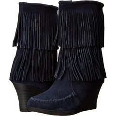 Minnetonka Calf Hi Double Fringe Wedge (Navy) Footwear