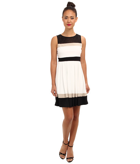 Christin Michaels - Reina Dress (Ivory/Black/Beige) Women's Dress