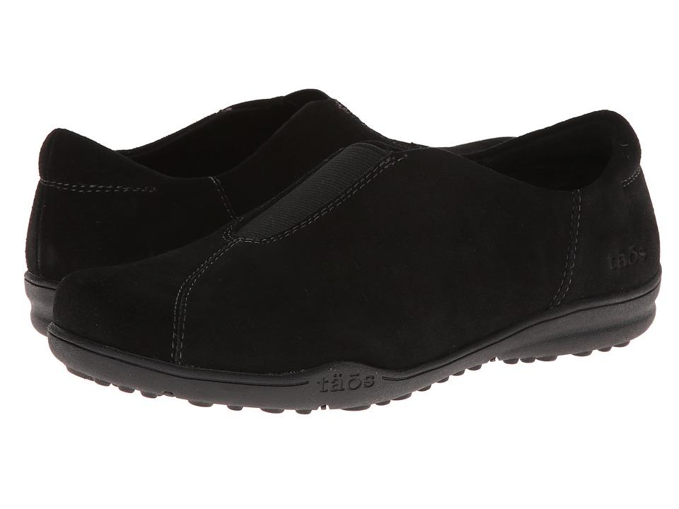 taos Footwear - Center Peace (Black Suede) Women's Slip on Shoes