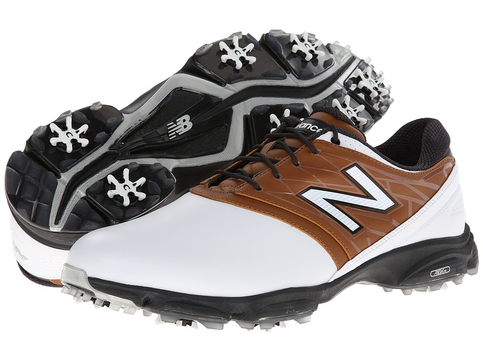 New Balance Golf - NBG2001 (White/Brown) Men's Golf Shoes