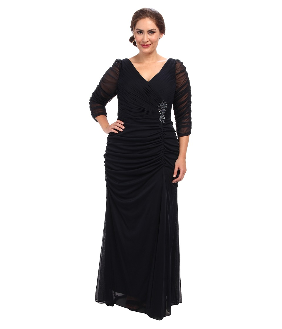 Adrianna Papell Plus Size 3/4 Sleeve Side Drape Gown (Ink) Women