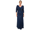 Plus Size 3/4 Sleeve Side Drape Gown