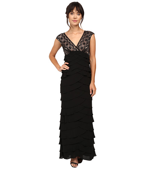 Adrianna Papell - Lace Bodice Shutter Bottom Gown (Black) Women