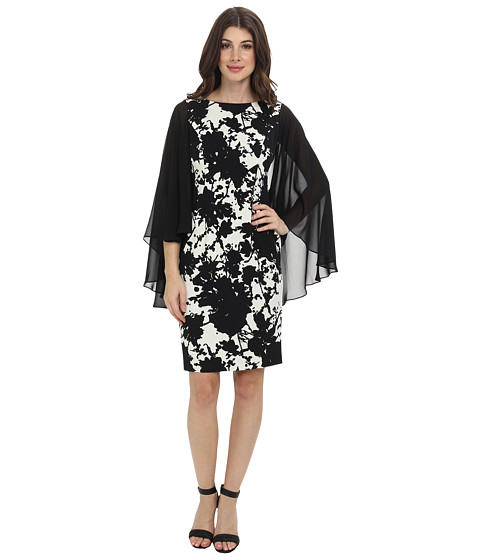 Adrianna Papell - Chiffon Cape Printed Sheath (Cream/Black) Women's Dress