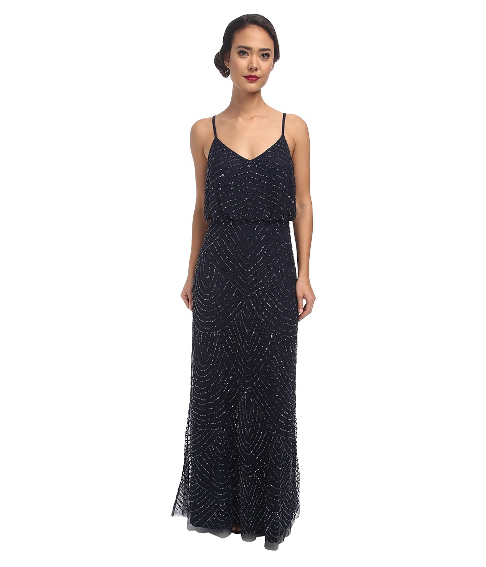 Adrianna Papell - Long Deco Bead Blouson (Midnight Blue) Women's Dress