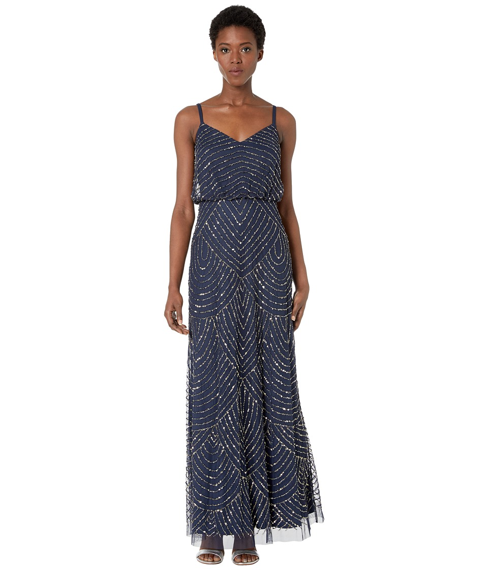 Adrianna Papell - Long Deco Bead Blouson (Navy) Women's Dress