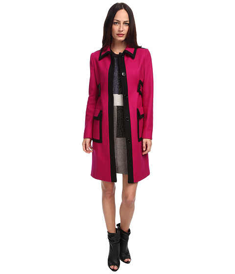LOVE Moschino - Magenta Contrast Trim Coat (Magenta) Women
