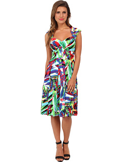SALE! $47.99 - Save $31 on London Times Cap Sleeve Printed Sweetheart Neckline Fit and Flare Dress (Multi) Apparel - 39.25% OFF $79.00