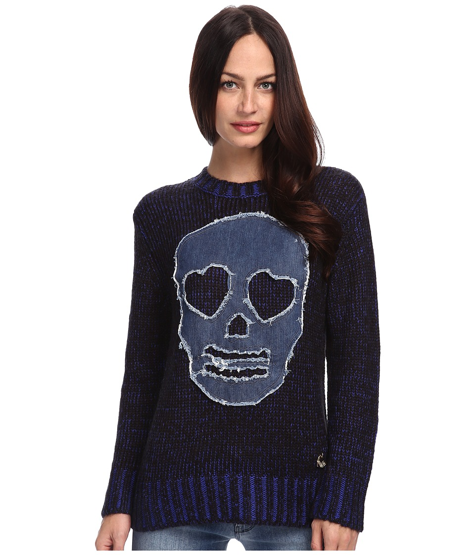 LOVE Moschino - Skull Sweater (Blue Melange) Women's Sweater
