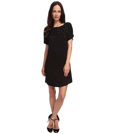 LOVE Moschino - Studded Baby Doll Dress (Black) Women's Dress