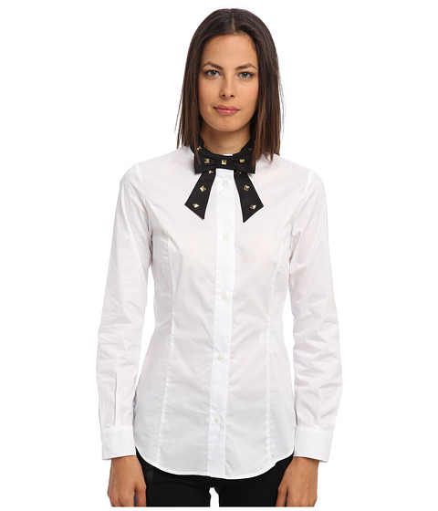 LOVE Moschino - Button Down Blouse with Studded Bow Tie (White/Black) Women's Long Sleeve Button Up