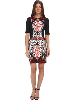 SALE! $52.99 - Save $36 on London Times Elbow Sleeve Scroll Print Sheath Dress (Ivory Red) Apparel - 40.46% OFF $89.00