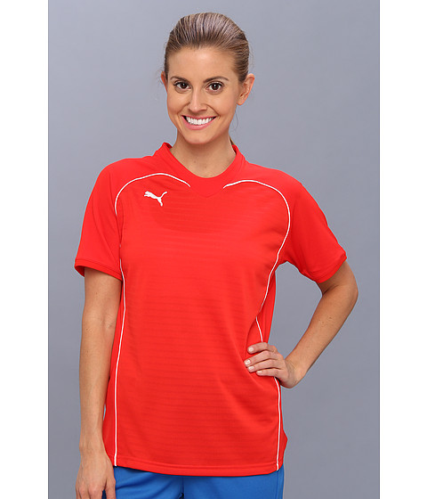 PUMA - Manchester Shirt (Puma Red/White) Women's Short Sleeve Pullover