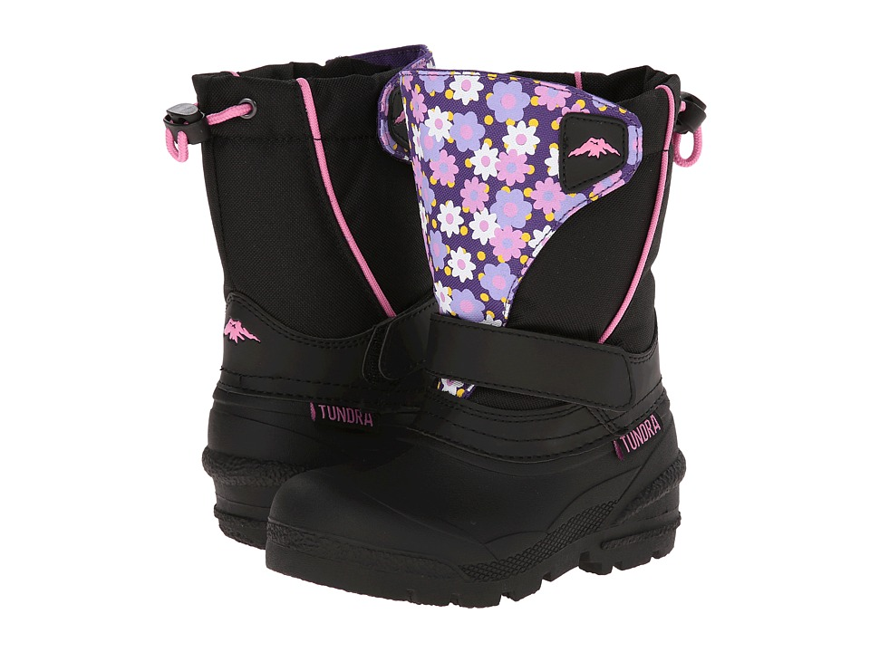 Tundra Boots Kids - Quebec Medium (Toddler/Little Kid/Big Kid) (Black/Flower) Girl's Shoes