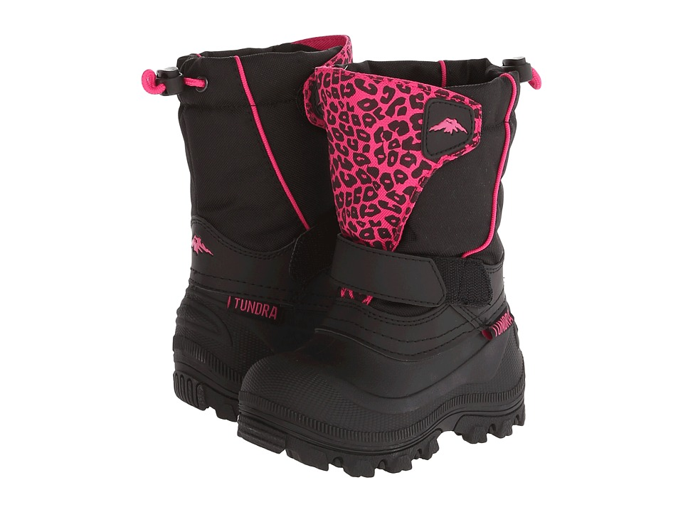 Tundra Boots Kids - Quebec Wide (Toddler/Little Kid/Big Kid) (Black/Leopard) Girls Shoes