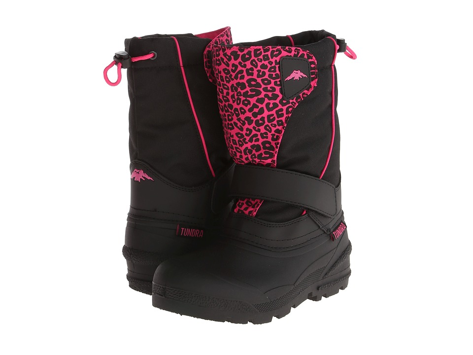 Tundra Boots Kids - Quebec (Toddler/Little Kid/Big Kid) (Black/Leopard) Girl's Shoes