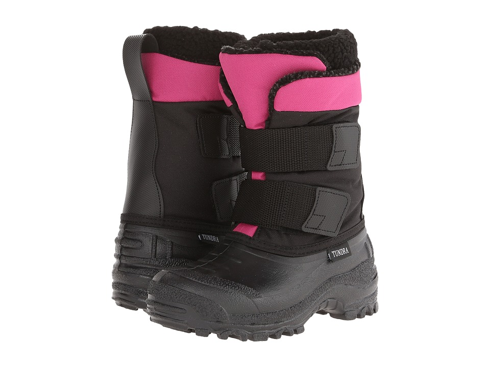 Tundra Boots Kids - Plateau (Little Kid/Big Kid) (Black/Fuchsia) Girl's Shoes