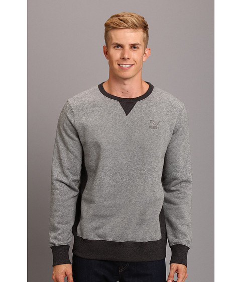 PUMA - Core Crew Neck Sweater (Medium Gray Heather) Men