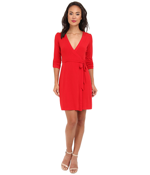 Calvin Klein - Matte Jersey Solid Wrap Dress (Red) Women