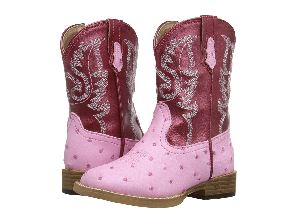 Roper Kids - Western Square Toe Boot (Toddler) (Pink/Red) Cowboy Boots