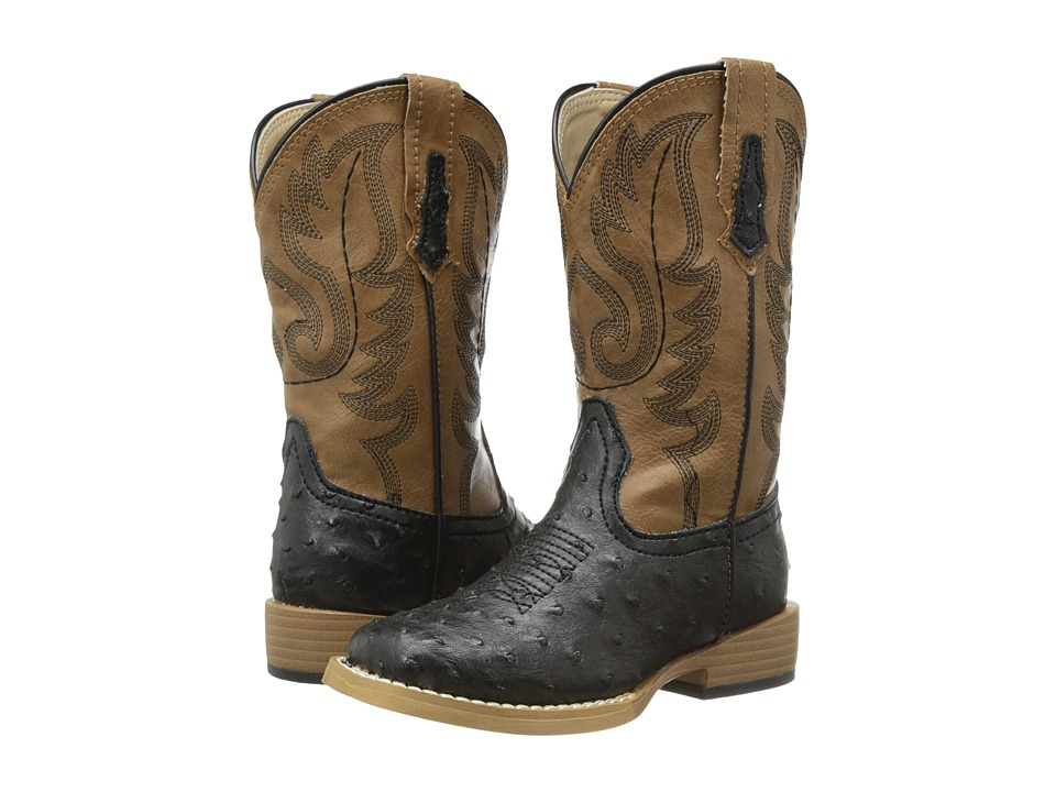 Roper Kids - Square Toe Pistol (Toddler/Little Kid) (Black/Tan) Cowboy Boots