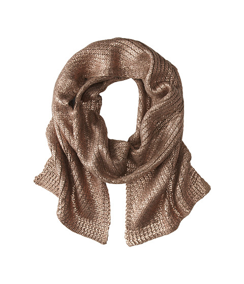 LAUREN by Ralph Lauren - Foil Printed Chevron Cable Scarf (Moleskin Heather/Light Rosegold) Scarves