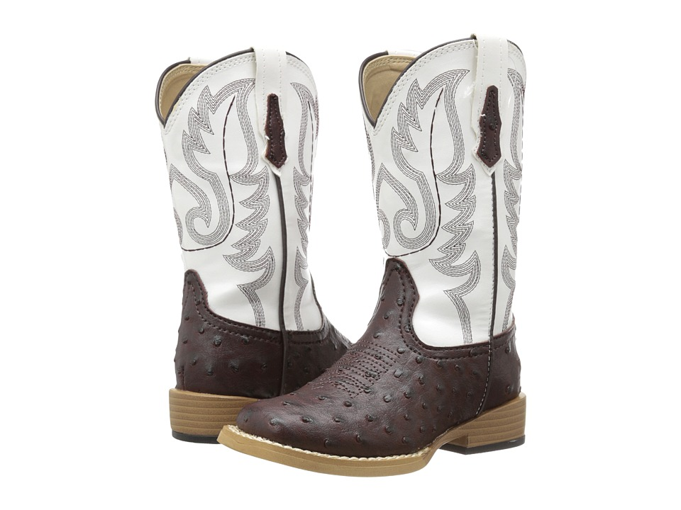 Roper Kids Square Toe Basic (Toddler/Little Kid) (Brown/White) Cowboy Boots