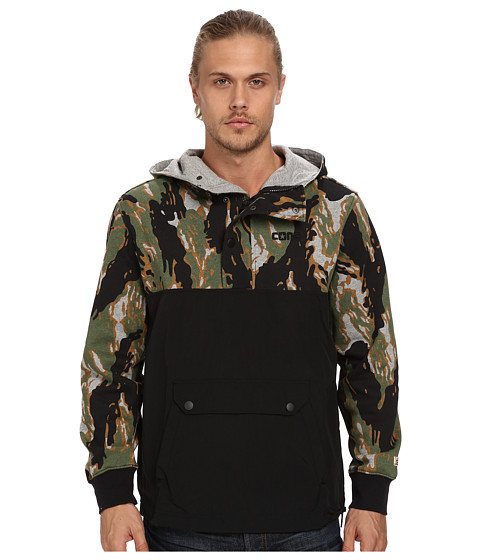 Converse - Camo Half Zip Fleece Hoodie (Olive Green) Men's Sweatshirt