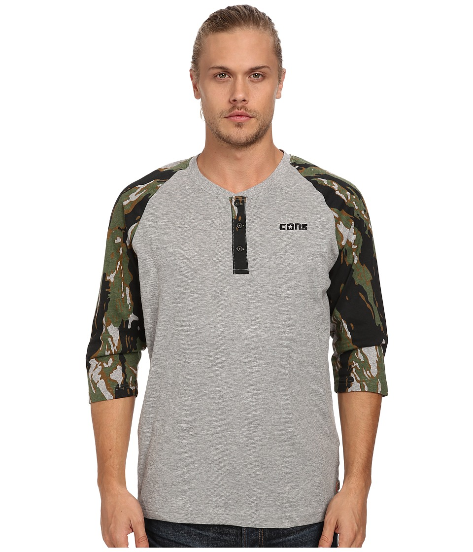 Converse - Camo 3/4 Sleeve Henley (Vintage Grey Heather/Olive Green) Men's Long Sleeve Pullover
