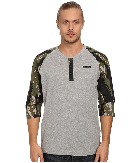 Converse - Camo 3/4 Sleeve Henley (Vintage Grey Heather/Olive Green) Men