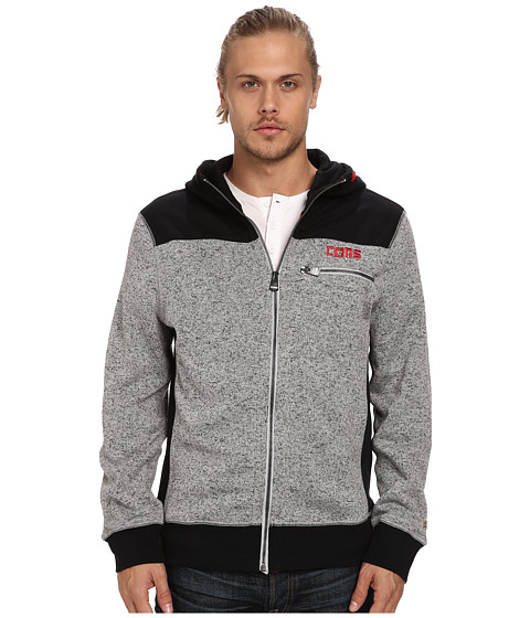 Converse - Marled Fleece Full-Zip Hoodie (Black) Men's Sweatshirt