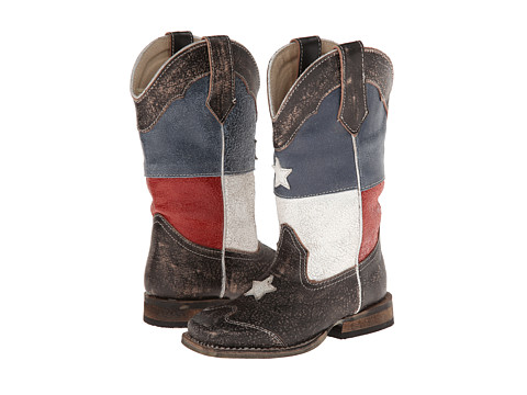 Roper Kids - Texas Flag Square Toe Boot (Toddler/Little Kid) (Brown) Cowboy Boots