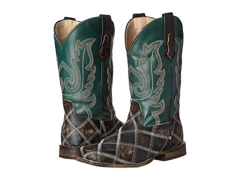 Roper Kids - Square Toe Patchwork Boot (Toddler/Little Kid) (Brown/Black) Cowboy Boots