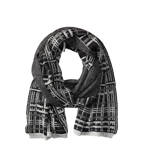 LAUREN by Ralph Lauren - Knitted Foil Plaid Scarf (Jet Metallic) Scarves