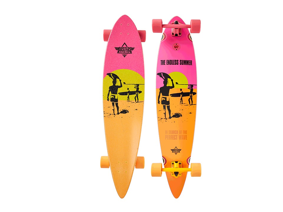 Dusters - Endless Summer Longboard (Yellow/Orange/Pink) Skateboards Sports Equipment