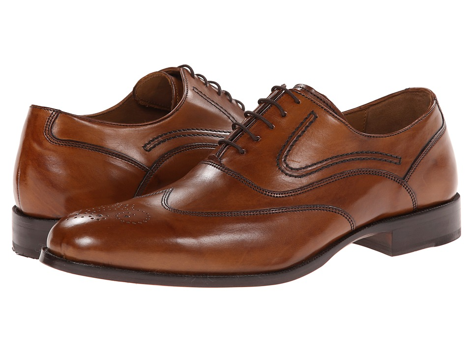 Johnston & Murphy - Stratton Wingtip (Tan Calfskin) Men's Lace Up Wing Tip Shoes