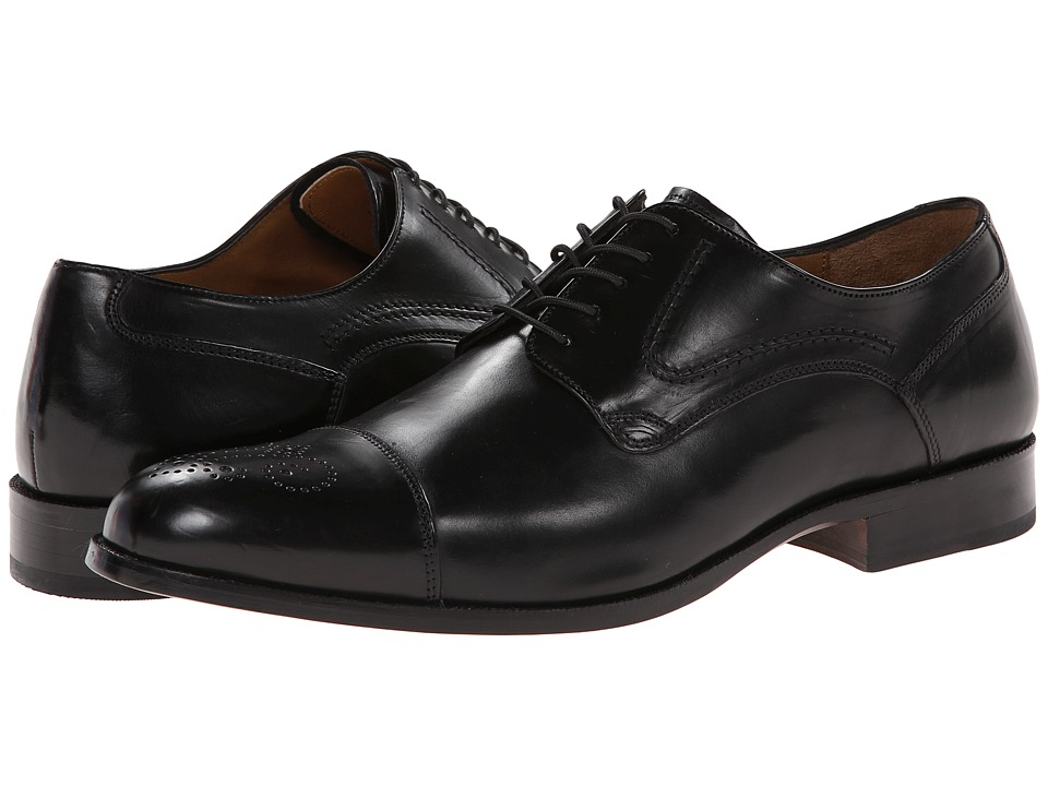 Johnston & Murphy Stratton Cap Toe (Black Calfskin) Men