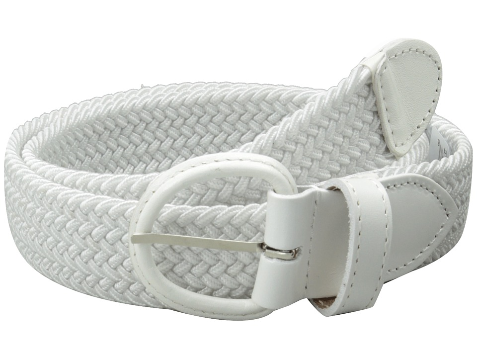 Florsheim - Braided Elastic Stretch Belt 35mm (White) Men's Belts