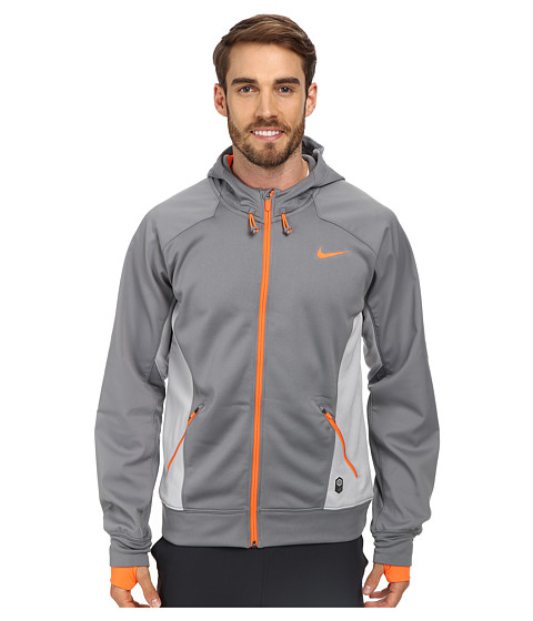 Nike - Hero Outdoor Tech Full-Zip Hoodie (Cool Grey/Wolf Grey/Hyper Crimson/Hyper Crimson) Men's Coat
