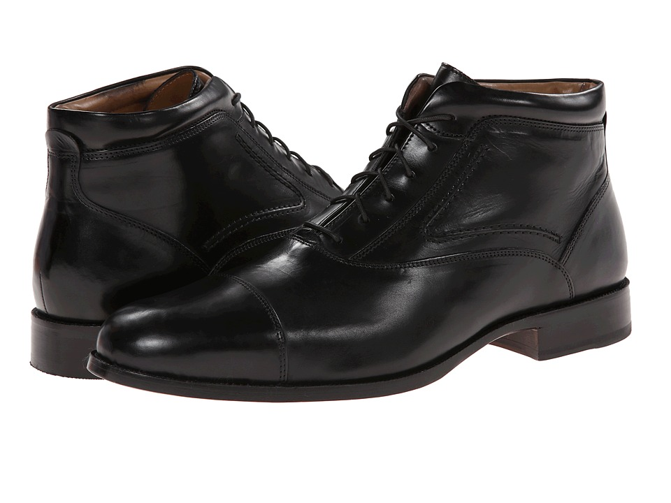 Johnston & Murphy - Stratton Cap Toe Boot (Black Calfskin) Men's Lace-up Boots